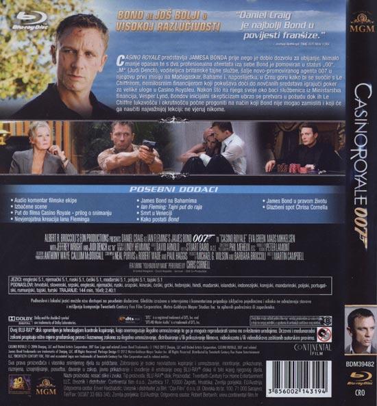 Stražnja strana Blu Raya 'Casino Royale'