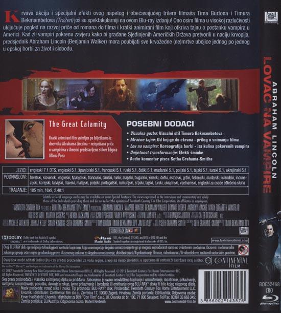 Stražnja strana Blu Raya 'Abraham Llincoln: Lovac na vampire'
