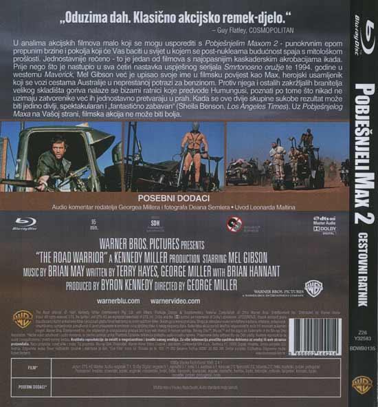 Stražnja strana Blu Raya 'Pobješnjeli Max 2'