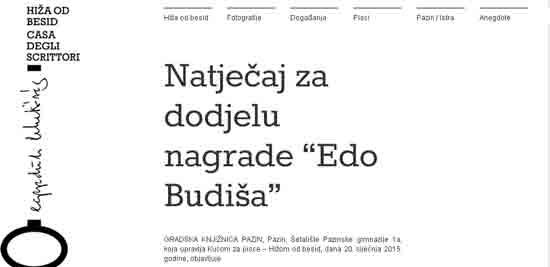 Natječaj za godišnju književnu nagradu Istarske županije – Regione Istriana 'Edo Budiša'